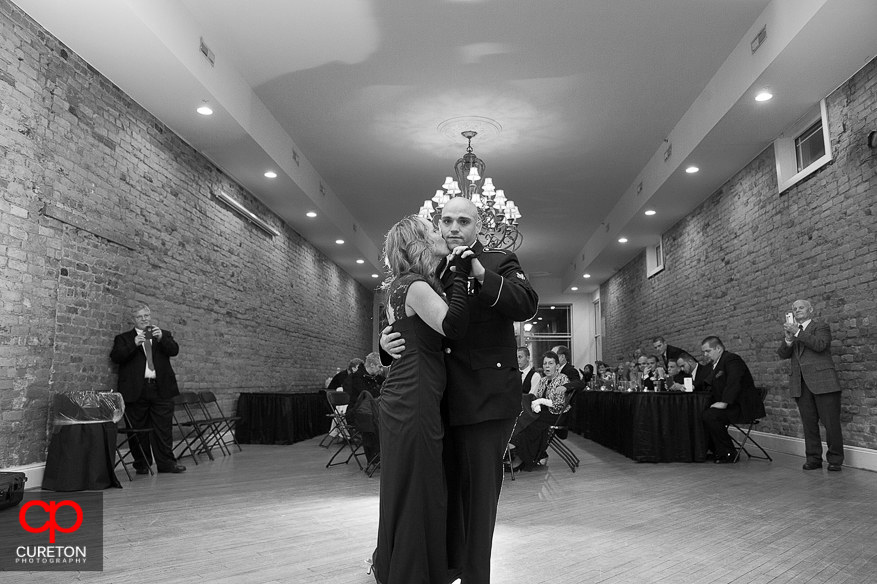 Groom and mother dancing at the wedding reception.