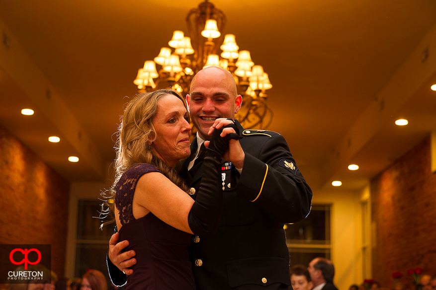 Groom and his mother dancing at his wedding at The Davenport in Greer,SC.