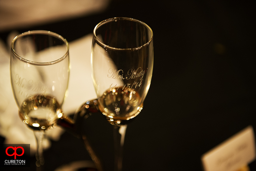 Engraved wedding toast glasses.
