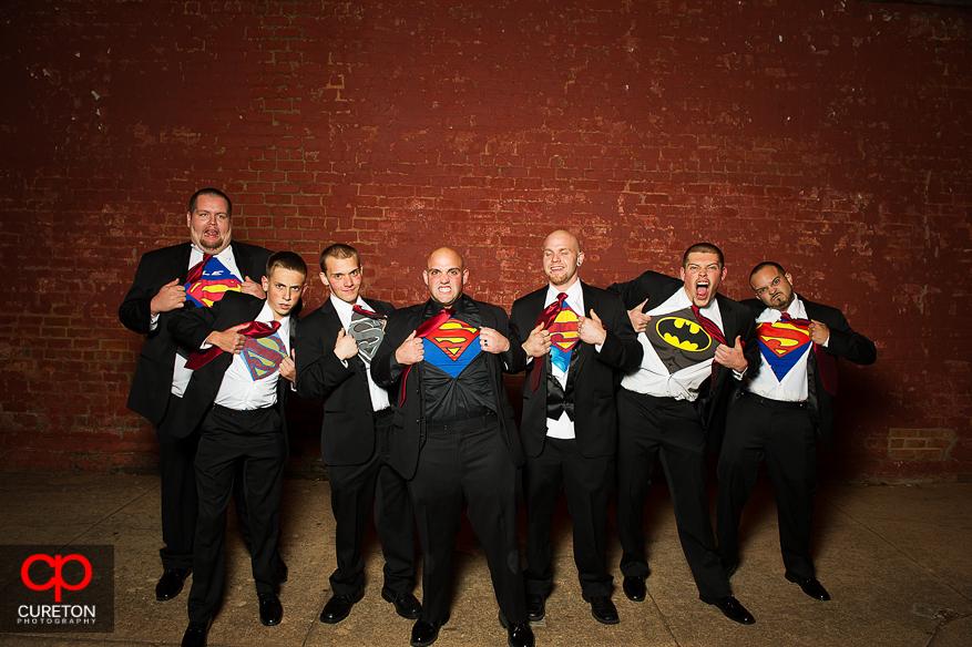 Groom and Groomsmen in superman shirts.