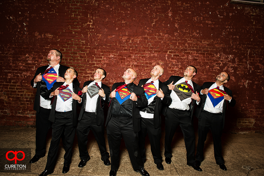 Groom and Groomsmen showing super hero shirts at a wedding at The Davenport in Greer,SC.