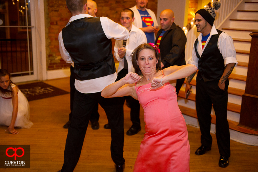 Guest dancing at a wedding at The Davenport in Greer,SC.