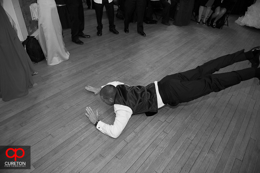 Guest doing the worm at the reception.
