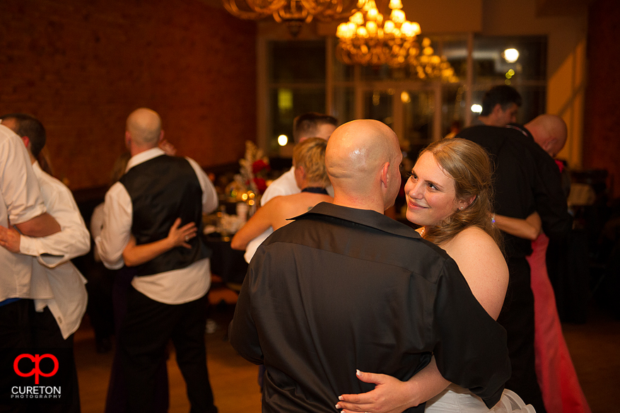 Couple dancing at their wedding reception.