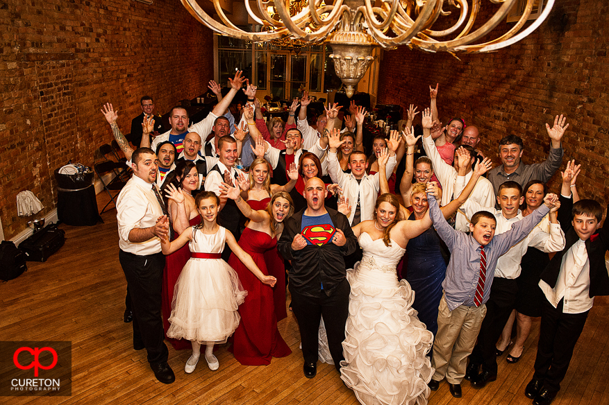 Group shots of all wedding guests at The Davenport in downtown Greer,SC