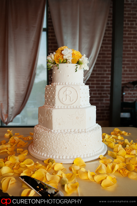 A tasty wedding cake from Kathy and Company.