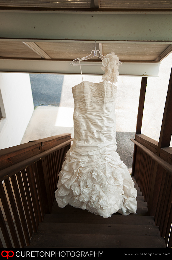 Bridal Dress hanging outside the church.