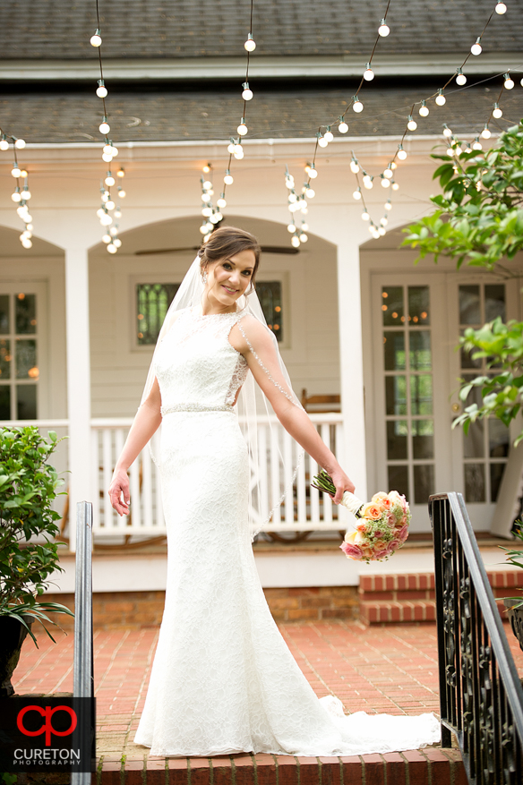 Bride outside on the grounds of the Duncan Estate.