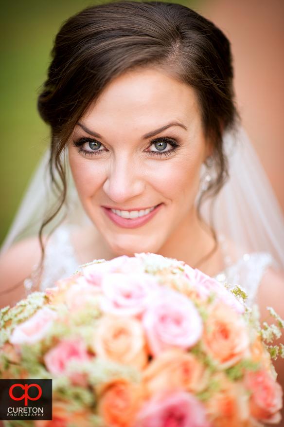 Smiling bride during a recent Duncan Estate bridal session.