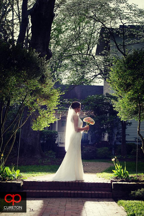 Backlit bride on the grounds of the Duncan Estate.