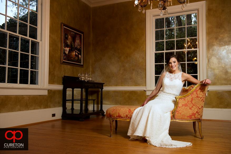 Bride and vintage furniture at the Duncan Estate.
