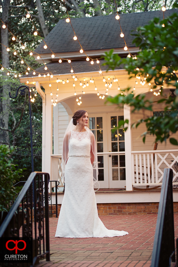 Bride and string lights during a recent Duncan Estate bridal session.