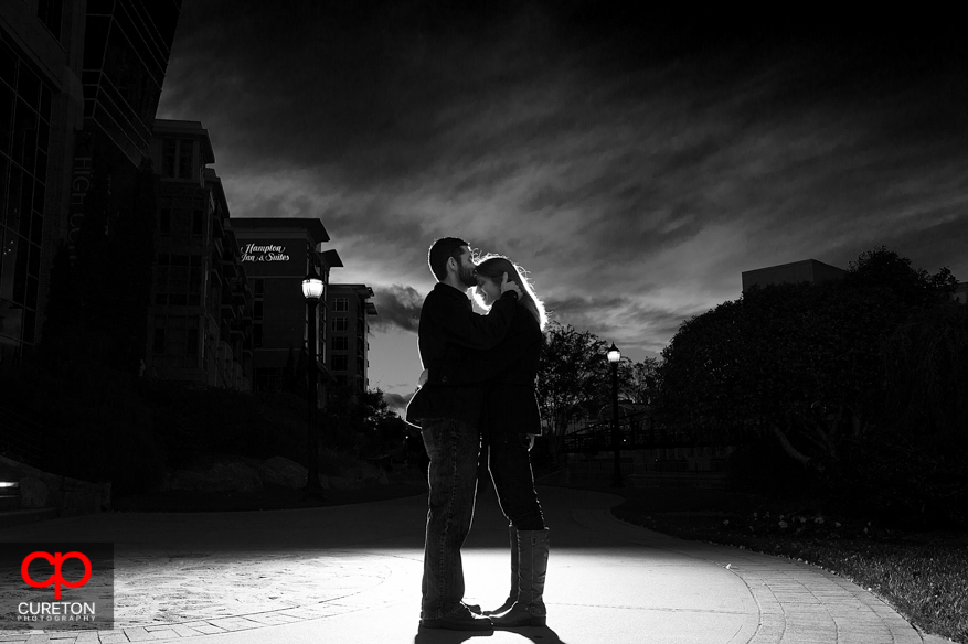 Black and White shot of a couple in Falls Park.