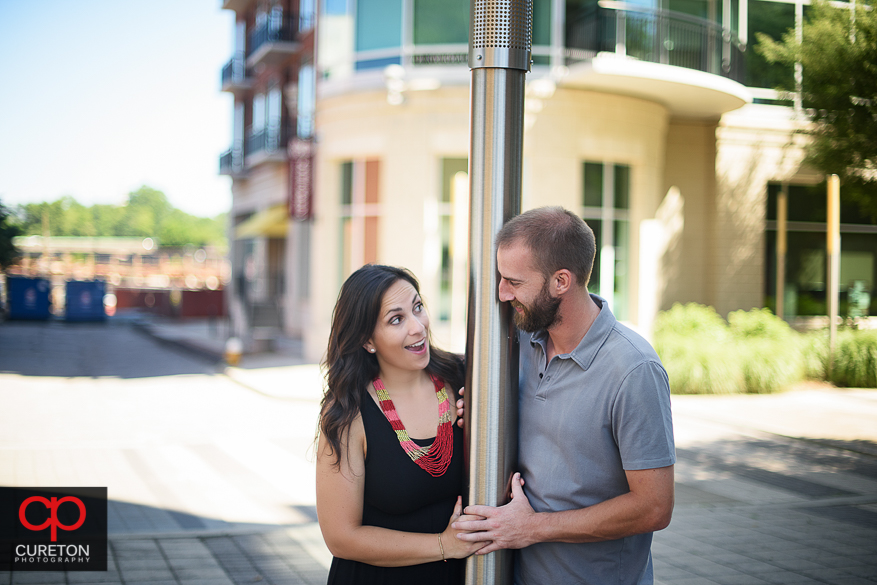 Couple staring at each other during a pre wedding engagement session in Greenville,SC..