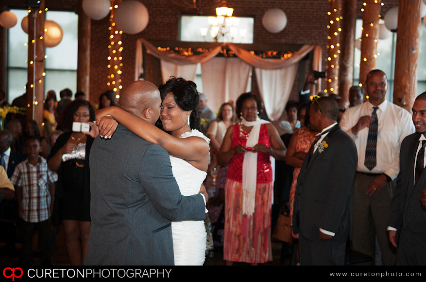 Couples first dance at thier reception at The Loom.