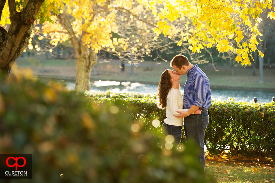 Couple kissing during their Furman University Engagement session.