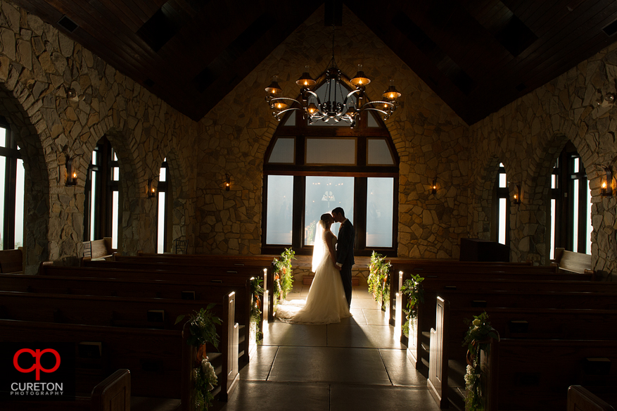 Glassy Chapel bride and groom.
