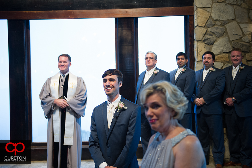 Groom sees his bride for the first time.