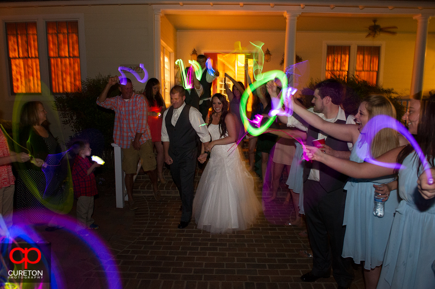 A glowstick leave after the wedding reception.