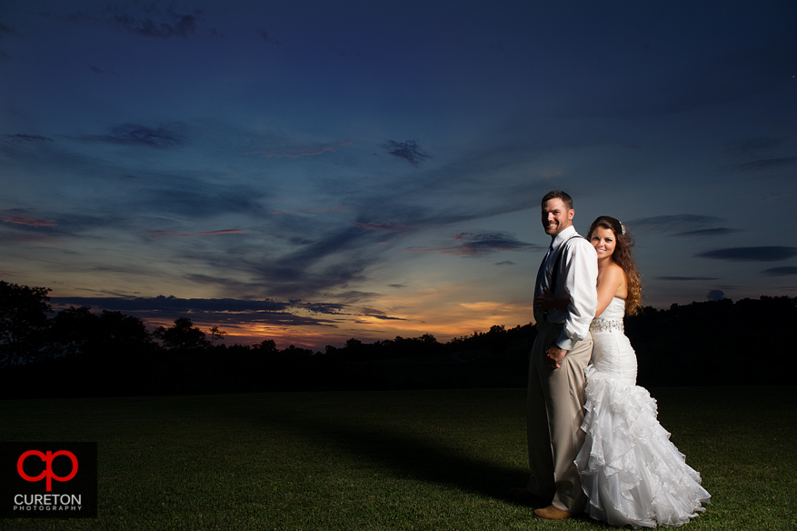 Married couple at sunset in Hendersonville,NC.