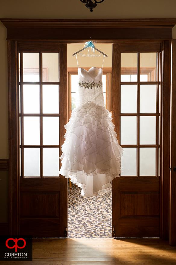 Beattiful wedding dress shot at Grand Highlands.