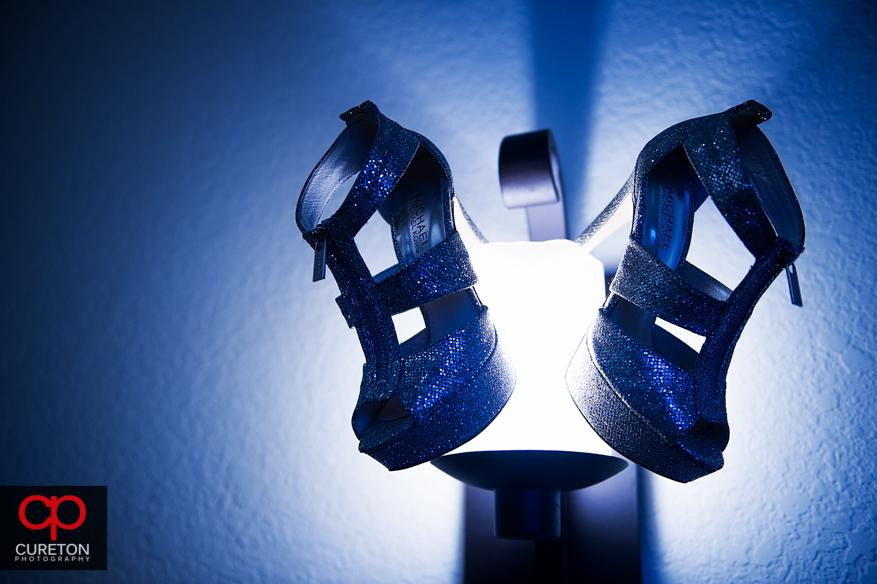 Creative shot of eth brides shoes.