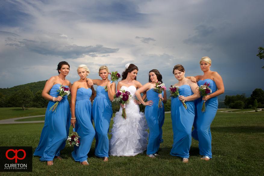 Bridesmaids with attitude and a gorgeous mountain backdrop.