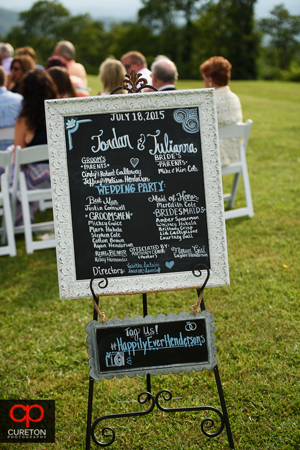 The sign for the Henderson wedding.