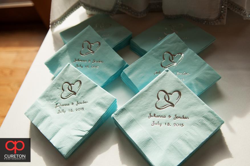 Customized wedding napkins.