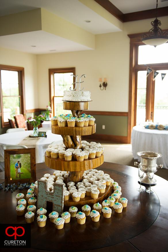 The wedding cupcake tower.