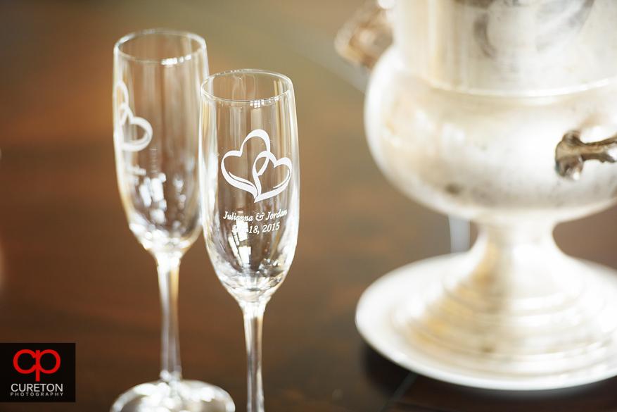 Engraved wedding glasses.