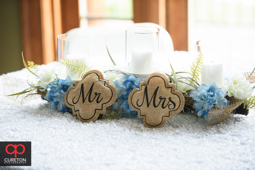 Mr. and Mrs. place setting for the bride and groom.