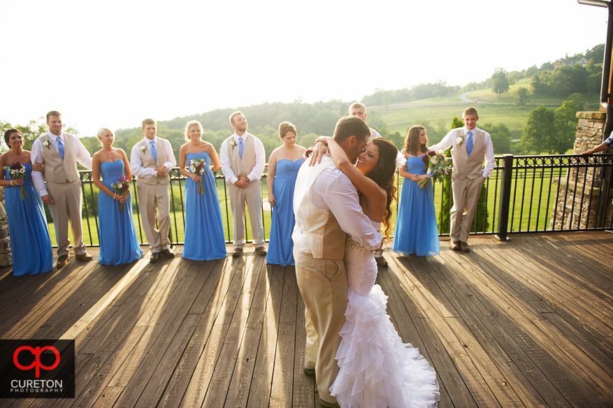 Bride and Groom sharing their first dance.