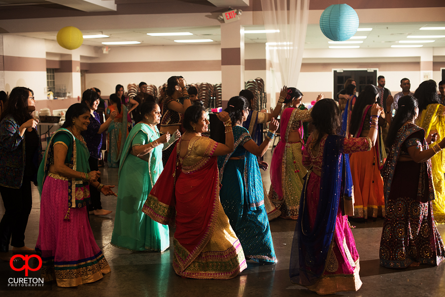 Indian women doing traditional Garba dances at the Vedic Center in Greenville, SC.