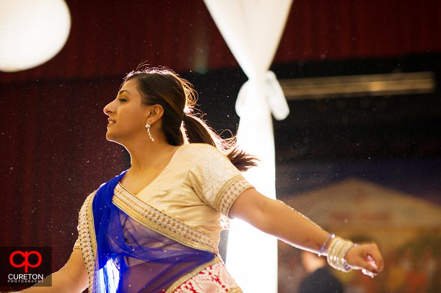 Bride's sister dancing at GArba.