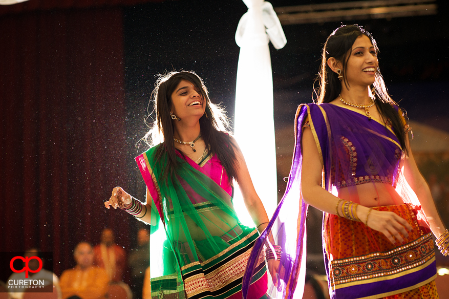 Indian woman dancing at Garba at the Vedic Center in Greenville,SC.