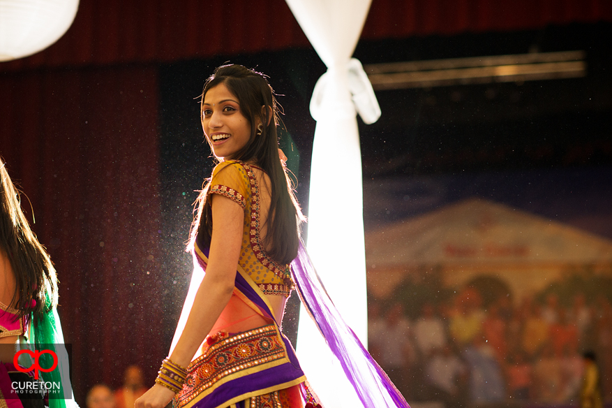 Indian woman dancing at Garba party in Greenville,SC.