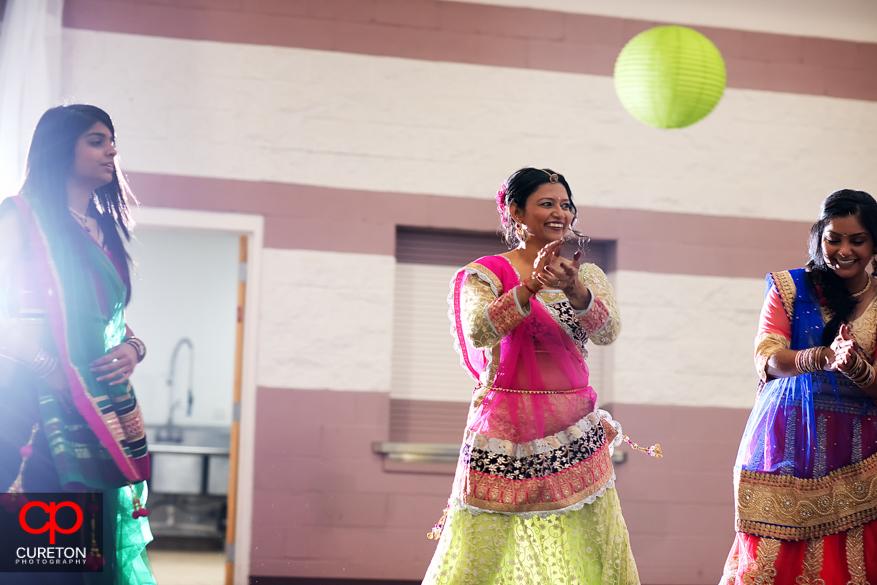 Bridesmaid dancing at the Garba.