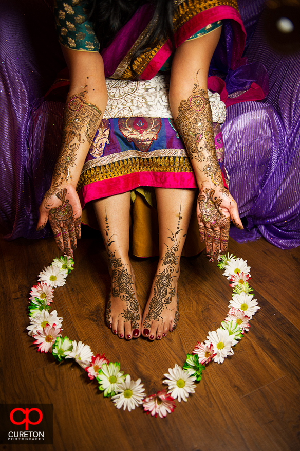 Bride showing her henna during the mehndi in Greenville,SC.