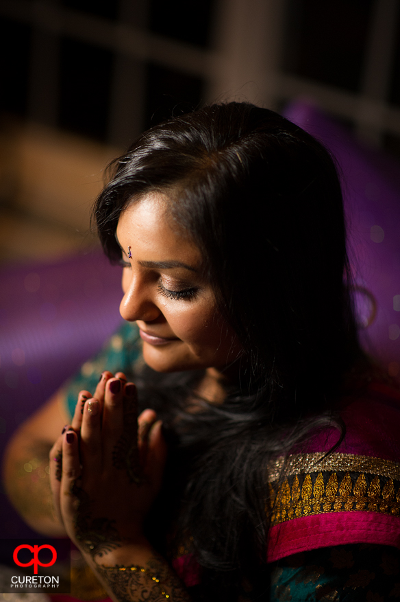 Indian bride at her Mehndi party in Greenville before her wedding.