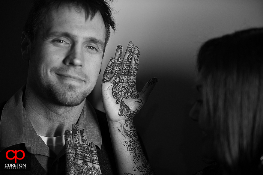 Bride and Groom at mehndi party in Greenville,SC.