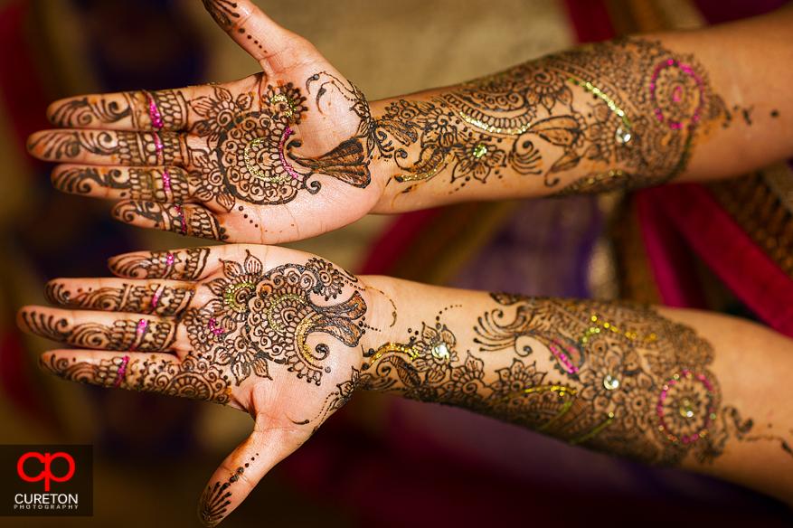 Brides mehndi close up.