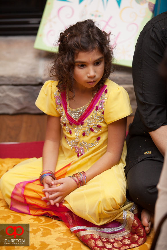 A member of the bride's family at the Mehndi.