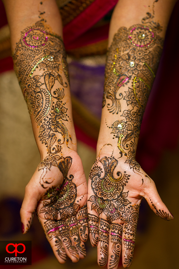 A close up of the intricate henna of the bride during her mehndi party in Greenville,SC.