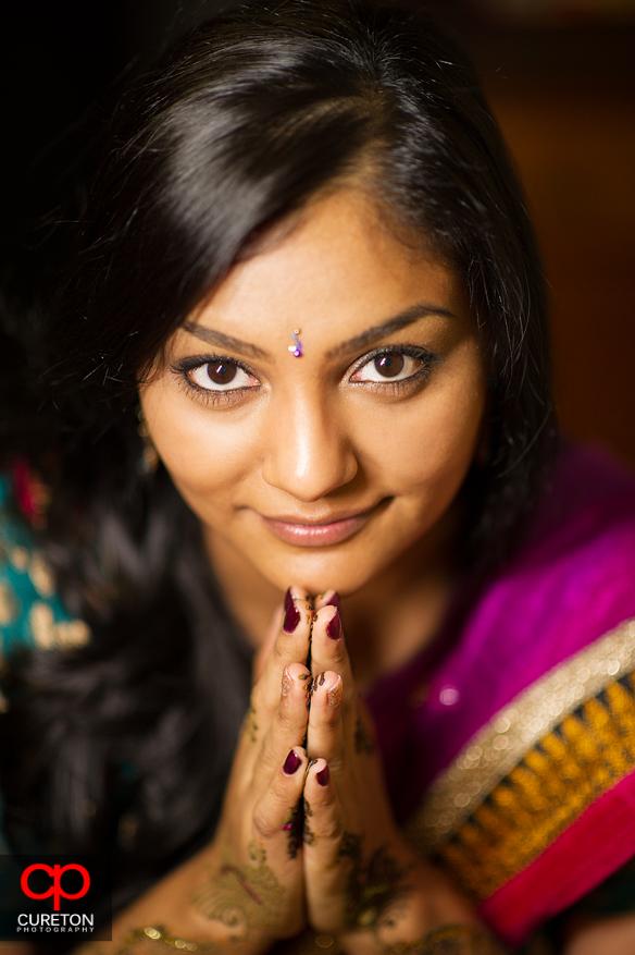 Beautiful Indian Bride before her wedding in Greenvilel,SC.