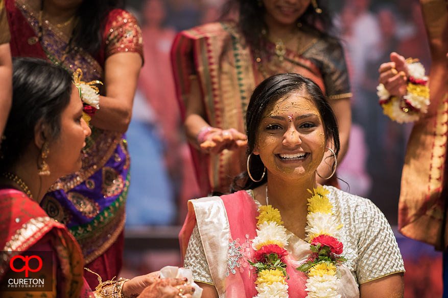 Indian bride smiling during her vidhi in Greenville,SC.