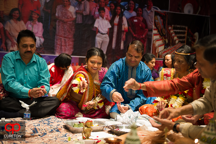 The brides family during her vidhi in Greenville,SC.