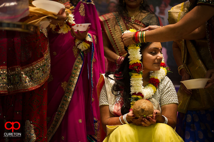The bride at the beginning of a vidhi ceremony.