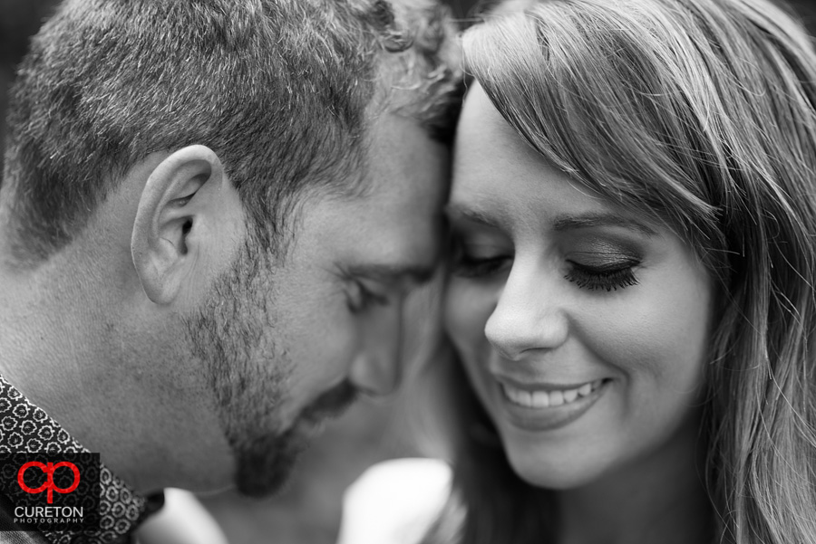 Black and white closeup on an engaged couple.