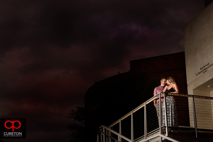 Epic use of negative space in an engagement photo.